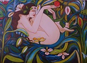 Haus Mixed Media Posters - EVE and the APPLE  3  Art Deco Poster by Gunter  Hortz