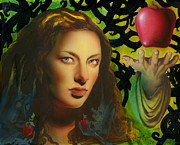 Adam And Eve Framed Prints - Eve and the Apple Framed Print by Luis  Navarro