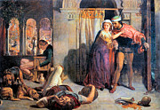 Attending Framed Prints - Eve of Saint Agnes The Flight of Madelein the Drunkenness Attending the Revelry Framed Print by William Holman Hunt
