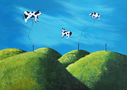 Outsider Art Paintings - Even Cows Have Strange Dreams by Shawna Erback Art by Shawna Erback