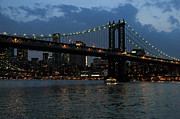 City Buildings Framed Prints - Evening - Manhattan Bridge Framed Print by Frank Mari