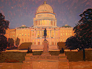 Park Scene Paintings - Evening at the capitol by Monica Caballero