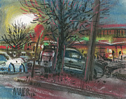 Car Pastels Prints - Evening at the Mall Print by Donald Maier