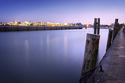 Silence Of Night Prints - Evening at the port of Hamburg Print by Marc Huebner