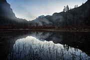 Calm Water Metal Prints - Evening Autumn Mist Metal Print by Mike Reid