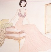 Fashion Illustration Pastels Posters - Evening Awaits Poster by Christine Corretti