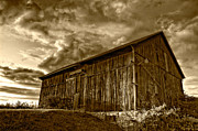 Steve Harrington Framed Prints - Evening Barn sepia Framed Print by Steve Harrington