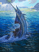 Black Marlin Framed Prints - Evening Bite Framed Print by Carey Chen