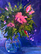 Rosebud Paintings - Evening Blooms by Nancy Merkle