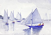 Sail Boats Drawings Posters - Evening Breeze Poster by Robert Parsons
