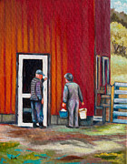 Red Barn Paintings - Evening Chores by Eve  Wheeler