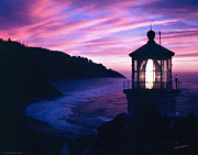 Mick Anderson Prints - Evening Colors at Heceta Head Lighthouse Print by Mick Anderson
