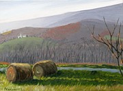 Hay Bales Paintings - Evening Comes to Penns Valley by Barb Pennypacker