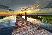 Oceanscape Prints - Evening Dock Print by Debra and Dave Vanderlaan
