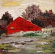 Old Barn Paintings - Evening Feelings by John  Williams