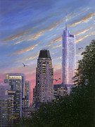Skylines Painting Posters - Evening Flight Poster by Doug Kreuger