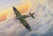 Spitfire Posters - Evening Flight Poster by Michael Swanson