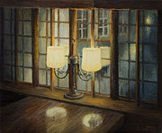 Night Lamp Painting Posters - Evening for Two Poster by Kiril Stanchev