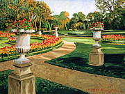 Formal Flower Paintings - Evening Garden by  David Lloyd Glover