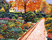 Flower Beds Prints - Evening Garden Stroll Print by  David Lloyd Glover