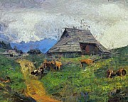 Pasture Scenes Painting Posters - Evening gathering at the Velika Planina Poster by Dragica  Micki Fortuna