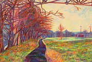 Original Oil Pastels - Evening Glow at Bisset Park by Kendall Kessler