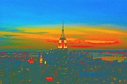 Empire State Building Pastels Framed Prints - Evening Glow Framed Print by Dan Hilsenrath