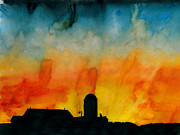 Indiana Scenes Painting Metal Prints - Evening Glow Metal Print by R Kyllo