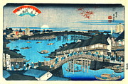 Evening Glow Ryogoku Bridge 1844 Print by Padre Art