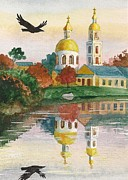 Dome Paintings - Evening Gong Of The Russian Church by Margaryta Yermolayeva