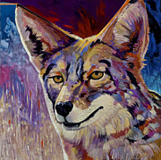 Coyote Art Paintings - Evening Hunt by Bob Coonts