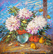 Water Jug Art - Evening impression of white flowers on winter window by Dmitry Spiros