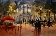 Cafes Painting Originals - Evening in Barcelona by Sandra Strohschein