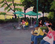 Umbrellas Pastels - Evening in Greeley Park NYC by Marion Derrett