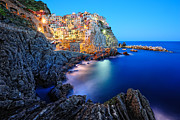 Italian Landscape Framed Prints - Evening in Manarola Framed Print by Roman Rodionov