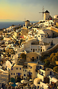 Windmills Prints - evening in Oia Print by Meirion Matthias