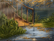 Rain Digital Art - Evening in the park by Veronica Minozzi