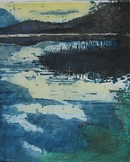 Etching Pastels Prints - Evening Lake Print by Karen Severson