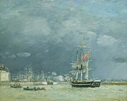 Flags Paintings - Evening Le Havre by Eugene Louis Boudin