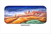 Relief Print Prints - Evening Light Ghost Ranch Print by ArSpirare by Antonius