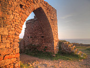 Evening Scenes Photos - Evening Light on Grosnez Castle Ruins Jersey by Gill Billington