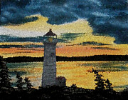 Painted Details Prints - Evening Lighthouse in Stained Glass Print by Barbara Griffin