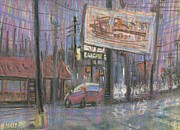 Plein Air Drawings - Evening Lights by Donald Maier