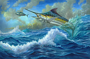 Striped Marlin Painting Prints - Evening Meal Print by Terry  Fox