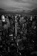 Manhaten Prints - Evening Night View Of North East Manhattan Night Views New York City Skyline Print by Joe Fox