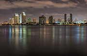Iconic Structures Prints - Evening on San Diego Harbor Print by Sandra Bronstein