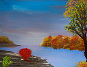 Indiana Autumn Painting Prints - Evening On The Last Sunny Day Print by Alys Caviness-Gober