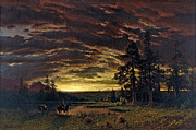 Famous Artists - Evening on the Prairie by Albert Bierstadt