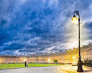 Street Lamps Digital Art Prints - Evening On The Royal Crescent In Bath Print by Mark E Tisdale