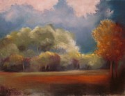 Evening Light Pastels Prints - Evening over the Glade Print by Sabina Haas